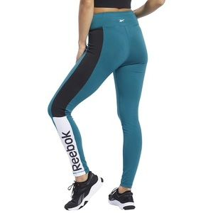Reebok real black logo leggings workout tights NWT